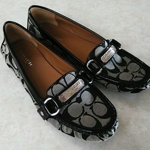 NEW Coach Logo Print Black Loafers Shoes 7.5